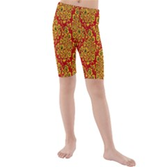 Flower Rose Red Yellow Sexy Kids  Mid Length Swim Shorts by AnjaniArt