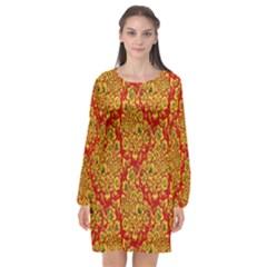Flower Rose Red Yellow Sexy Long Sleeve Chiffon Shift Dress