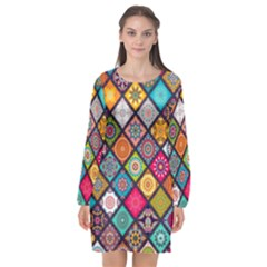 Flower Star Sign Rainbow Sexy Plaid Chevron Wave Long Sleeve Chiffon Shift Dress