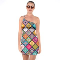 Flower Star Sign Rainbow Sexy Plaid Chevron Wave One Soulder Bodycon Dress