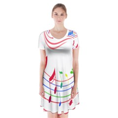 Rainbow Red Green Yellow Music Tones Notes Rhythms Short Sleeve V Neck Flare Dress by AnjaniArt