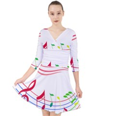 Rainbow Red Green Yellow Music Tones Notes Rhythms Quarter Sleeve Front Wrap Dress by AnjaniArt