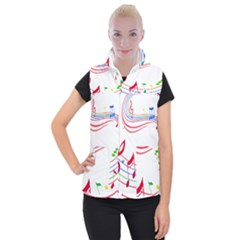 Rainbow Red Green Yellow Music Tones Notes Rhythms Women s Button Up Puffer Vest by AnjaniArt