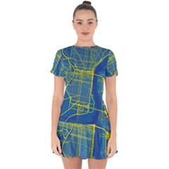 Philadelphia New York Map Art City Drop Hem Mini Chiffon Dress