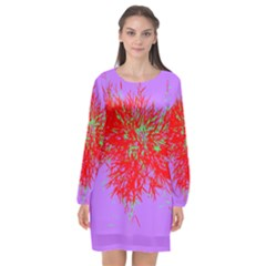 Spot Paint Red Green Purple Sexy Long Sleeve Chiffon Shift Dress