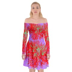 Spot Paint Red Green Purple Sexy Off Shoulder Skater Dress by AnjaniArt