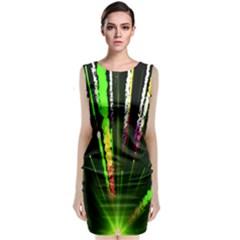 Seamless Colorful Green Light Fireworks Sky Black Ultra Sleeveless Velvet Midi Dress by AnjaniArt