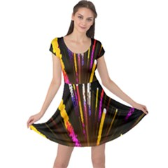 Seamless Colorful Light Fireworks Sky Black Ultra Cap Sleeve Dress
