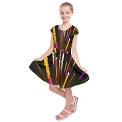 Seamless Colorful Light Fireworks Sky Black Ultra Kids  Short Sleeve Dress