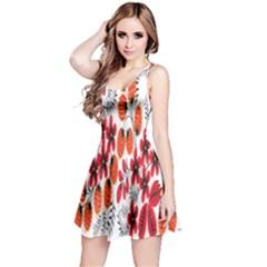 Rose Flower Red Orange Reversible Sleeveless Dress by AnjaniArt