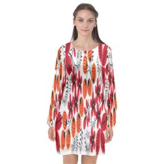 Rose Flower Red Orange Long Sleeve Chiffon Shift Dress  by AnjaniArt