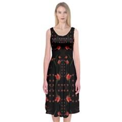 Roses From The Fantasy Garden Midi Sleeveless Dress by pepitasart
