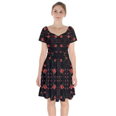 Roses From The Fantasy Garden Short Sleeve Bardot Dress by pepitasart