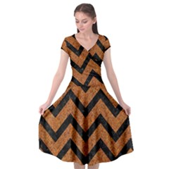 Chevron9 Black Marble & Rusted Metal Cap Sleeve Wrap Front Dress by trendistuff