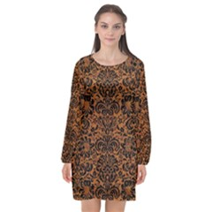 Damask2 Black Marble & Rusted Metal Long Sleeve Chiffon Shift Dress  by trendistuff