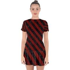 Stripes3 Black Marble & Reddish Brown Wood Drop Hem Mini Chiffon Dress by trendistuff