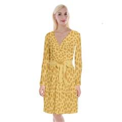 Autumn Animal Print 2 Long Sleeve Velvet Front Wrap Dress by tarastyle