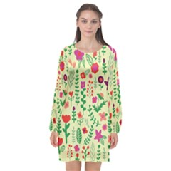 Cute Doodle Flowers 5 Long Sleeve Chiffon Shift Dress  by tarastyle