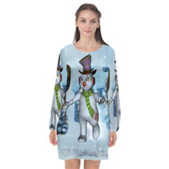 Funny Grimly Snowman In A Winter Landscape Long Sleeve Chiffon Shift Dress