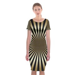 Art Deco Goldblack Classic Short Sleeve Midi Dress by 8fugoso