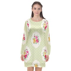 Green Shabby Chic Long Sleeve Chiffon Shift Dress  by 8fugoso