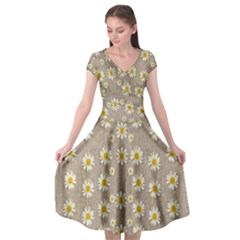 Star Fall Of Fantasy Flowers On Pearl Lace Cap Sleeve Wrap Front Dress by pepitasart
