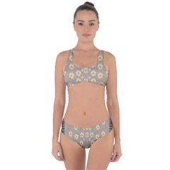 Star Fall Of Fantasy Flowers On Pearl Lace Criss Cross Bikini Set by pepitasart