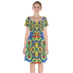 L ooera In Lyrical Abstraction Short Sleeve Bardot Dress