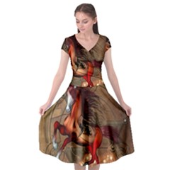 Awesome Horse  With Skull In Red Colors Cap Sleeve Wrap Front Dress by FantasyWorld7