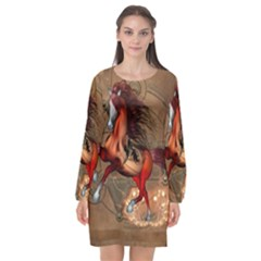 Awesome Horse  With Skull In Red Colors Long Sleeve Chiffon Shift Dress  by FantasyWorld7