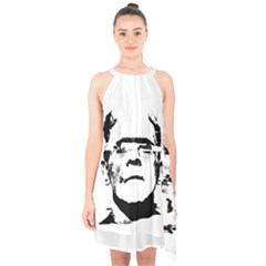 Frankenstein s Monster Halloween Halter Collar Waist Tie Chiffon Dress by Valentinaart