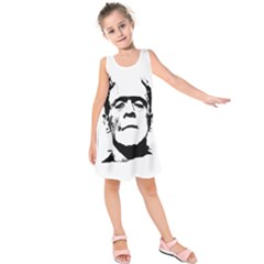 Frankenstein s Monster Halloween Kids  Sleeveless Dress by Valentinaart