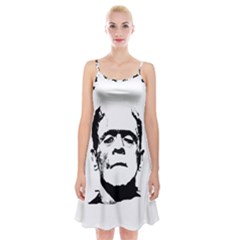 Frankenstein s Monster Halloween Spaghetti Strap Velvet Dress by Valentinaart