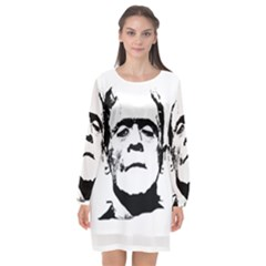 Frankenstein s Monster Halloween Long Sleeve Chiffon Shift Dress  by Valentinaart