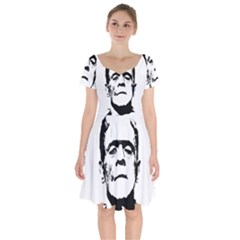 Frankenstein s Monster Halloween Short Sleeve Bardot Dress by Valentinaart
