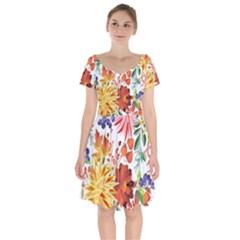 Autumn Flowers Pattern 1 Short Sleeve Bardot Dress by tarastyle