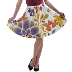 Autumn Flowers Pattern 5 A Line Skater Skirt by tarastyle