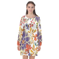 Autumn Flowers Pattern 5 Long Sleeve Chiffon Shift Dress  by tarastyle