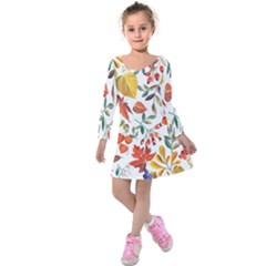 Autumn Flowers Pattern 7 Kids  Long Sleeve Velvet Dress by tarastyle