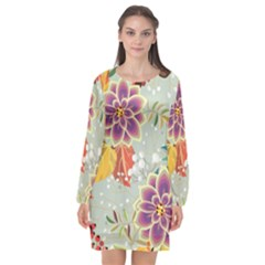 Autumn Flowers Pattern 9 Long Sleeve Chiffon Shift Dress  by tarastyle