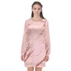 Luxurious Pink Marble 3 Long Sleeve Chiffon Shift Dress  by tarastyle