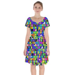 Colorful Squares Pattern                               Short Sleeve Bardot Dress by LalyLauraFLM
