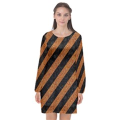 Stripes3 Black Marble & Rusted Metal (r) Long Sleeve Chiffon Shift Dress  by trendistuff