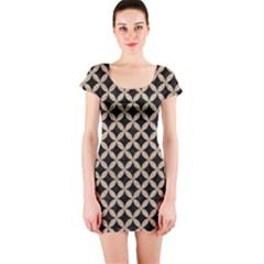 Circles3 Black Marble & Sand (r) Short Sleeve Bodycon Dress by trendistuff