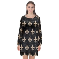Royal1 Black Marble & Sand Long Sleeve Chiffon Shift Dress  by trendistuff