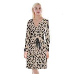 Skin5 Black Marble & Sand (r) Long Sleeve Velvet Front Wrap Dress by trendistuff