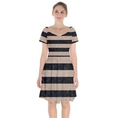 Stripes2 Black Marble & Sand Short Sleeve Bardot Dress by trendistuff