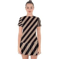 Stripes3 Black Marble & Sand (r) Drop Hem Mini Chiffon Dress by trendistuff