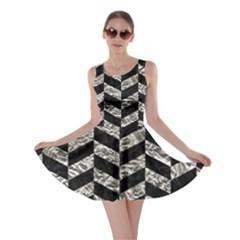 Chevron1 Black Marble & Silver Foil Skater Dress by trendistuff
