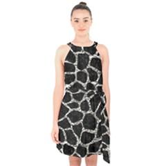 Skin1 Black Marble & Silver Foil Halter Collar Waist Tie Chiffon Dress by trendistuff